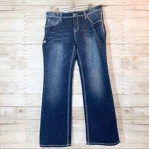 Adiktd-dark wash blue jeans boot cut straight cut